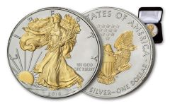 2018 $1 1 Ounce Silver Eagle BU With 24KT Gold Gilded Walking Liberty