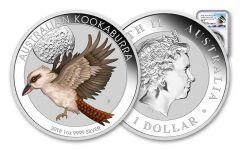 2018 Australia 1-oz Silver Kookaburra Colorized World Money Fair NGC MS70