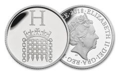 2018 Great Britain 10 Pence 6.5 Gram Silver Great British Hunt H - House of Parliament Proof