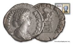 A.D. 147–175/6 Ancient Roman Empire Silver Denarius of Faustina Jr. Golden Age Hoard NGC VF
