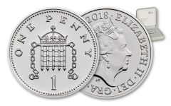 2018 Great Britain 1 Pence Silver Royal Birth Penny BU