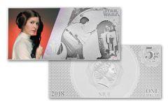 2018 Niue 1 Dollar 5 Gram Silver Foil Star Princess Leia Colorized Proof-Like Note