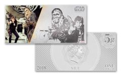 2018 Niue 1 Dollar 5 Gram Silver Foil Star Wars Han Solo and Chewbacca Colorized Proof-Like Note
