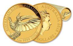 2018 Australia 100 Dollar 1-oz Gold Bird of Paradise BU 20-Coin Roll