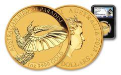 2018 Australia 100 Dollar 1-oz Gold Bird of Paradise NGC MS70 First Releases - Black