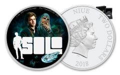 2018 Niue 2 Dollar 1-oz Silver Star Wars Han Solo Colorized Proof