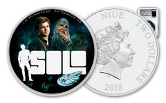 2018 Niue 2 Dollar 1-oz Silver Star Wars Han Solo NGC PF70UCAM First Releases