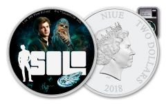 2018 Niue 2 Dollar 1-oz Silver Star Wars Han Solo NGC PF70UCAM First Releases - Black