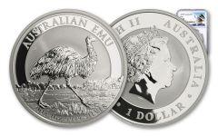 2018 Australia 1 Dollar 1-oz Silver Emu NGC MS70