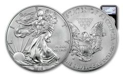 2018-W 1 Dollar 1-oz Burnished Silver Eagle NGC MS70 First Releases Silver Star Label - Black