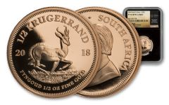 2018 South Africa 1/2 Ounce Gold Krugerrand NGC PF70UC Tumi Signature
