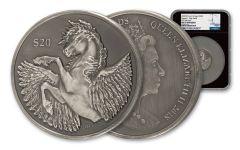 2018 BVI Pegasus 2-oz Antiqued Silver NGC MS70 FR Black Core