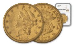 1865-S 20 Dollar Gold Liberty NGC XF-45 Rive D'Or