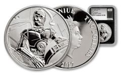 2017 Niue 2 Dollar 1-oz Silver Star Wars C3PO NGC PF70UC- First Releases
