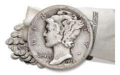 1916-1945 Silver Mercury Dimes VG-VF 10 Pound Bag