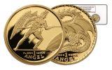 2009 Isle of Man 2-oz Gold Angel vs Dragon PF69 Set