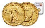 2016-W 1/4-oz Gold Standing Liberty Quarter Black Core NGC SP70 100th Anniversary