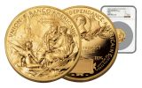 2016 FRANCE 5-OZ GOLD STATUE OF LIBERTY MEDAL NGC MS70