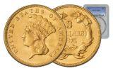 1874 3 Dollar Gold Indian Princess PCGS MS61