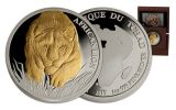 2017 Chad 5000 Franc 1-oz Silver Lion with Gold Gilt Proof