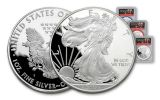 2017-S 1 Dollar 1-oz Silver Eagle Proof PCGS PR70DCAM FDI Trump Pence 3-Pc Set