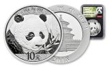 2018 China 30 Gram Silver Panda NGC MS69 First Day Of Issue - Black