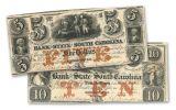 1835-1861 5-10 Dollar South Carolina Note F-VF 2pc Set