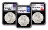 2018 1 Dollar 1-oz Silver Eagle NGC MS70 First Day Of Issue Moy Mercanti Jones Signed 3pc Set- Black