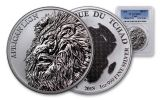 2018 Chad 5000 Franc 1-oz Silver African Lion PCGS MS69 First Strike