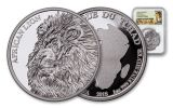 2018 5000 Franc 1-oz Silver African Lion NGC PF69UCAM First Day Of Issue Lion Label
