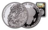 2018 Chad 5000 Franc 1-oz Silver African Lion NGC PF70UCAM First Releases Lion Label - Black