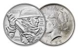 2018 1 Dollar Silver World War I Centennial BU and 1922-P Peace Dollar BU 2pc Set