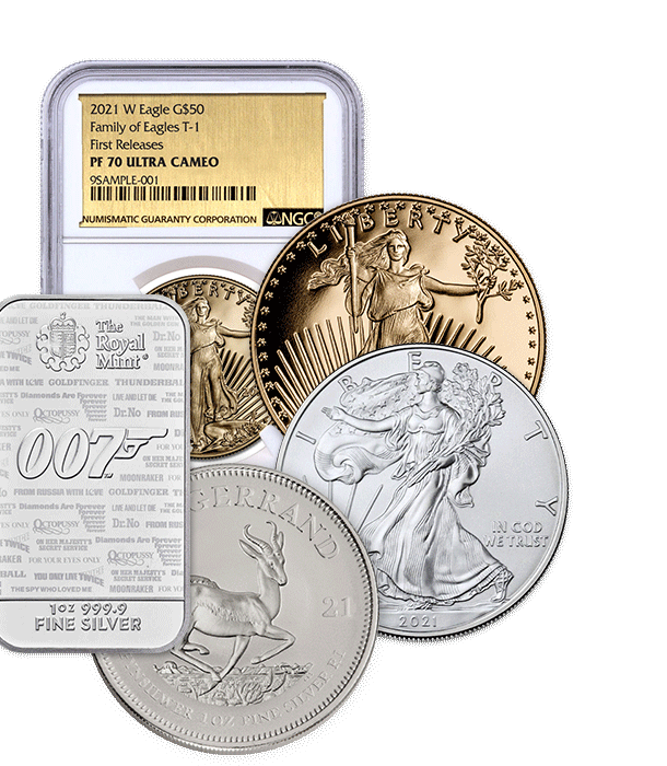 Silver 007 James Bond Bar, 2021 T-1 American Silver Eagle BU, 2021 T-1 American Gold Eagle BU, 2021 T-1 American Gold Eagle NGC Proof 70 Ultra Cameo First Releases