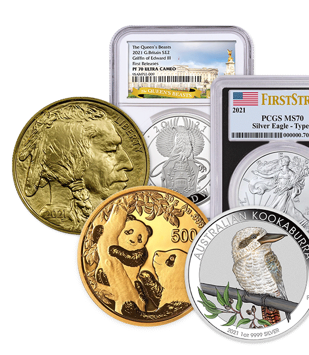 2021 American Gold Buffalo BU, China Gold Panda, 2021 1-ounce Silver Australian Kookaburra Colorized, 2021 Great Britain Silver Queen's Beasts Griffin of Edward III NGC Proof 70 Ultra Cameo First Releases, 2021 T-1 American Silver Eagle PCGS Mint State 70