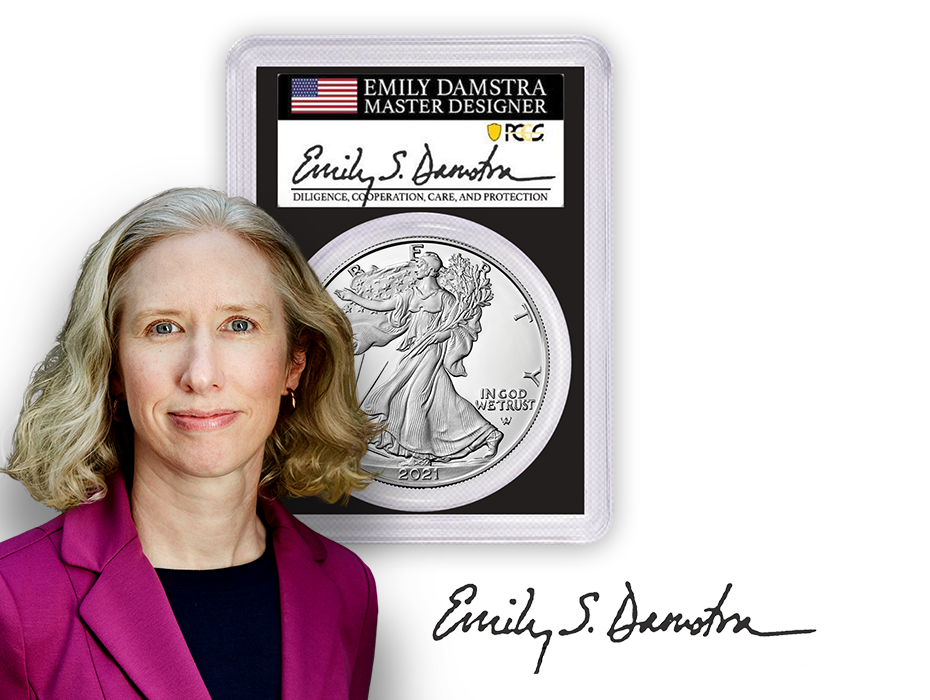 Emily Damstra headshot and signature with a 2021 T2 American Silver Eagle PCGS signed label black core slab