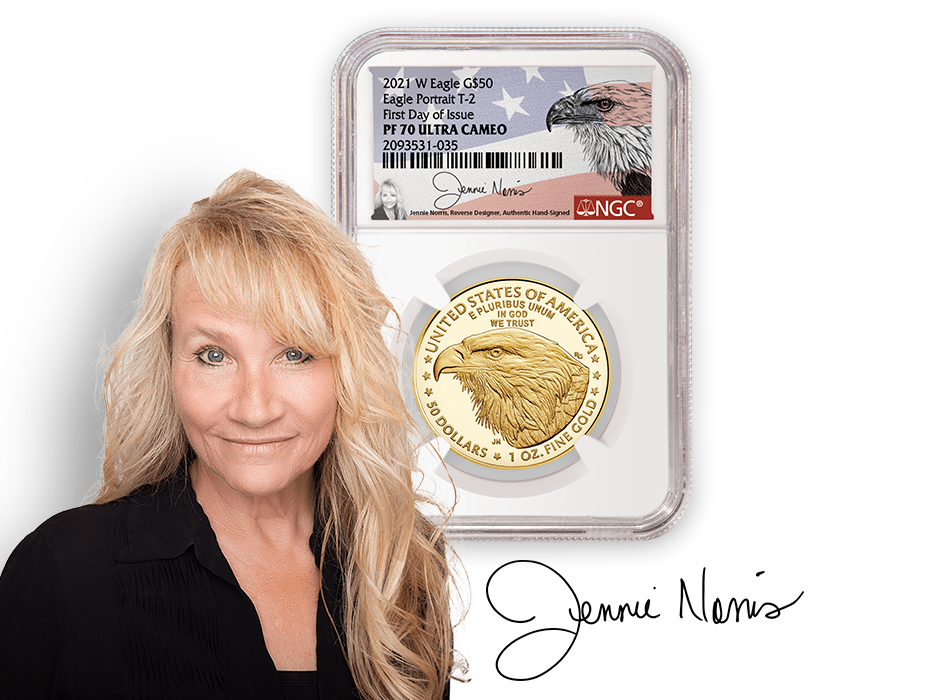 Jennie Norris headshot and signature with NGC PF70 Ultra Cameo 2021 T2 American Gold Eagle Signed label