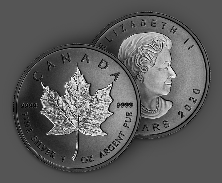 Silver one ounce rhodium plated incuse maple leaf coin