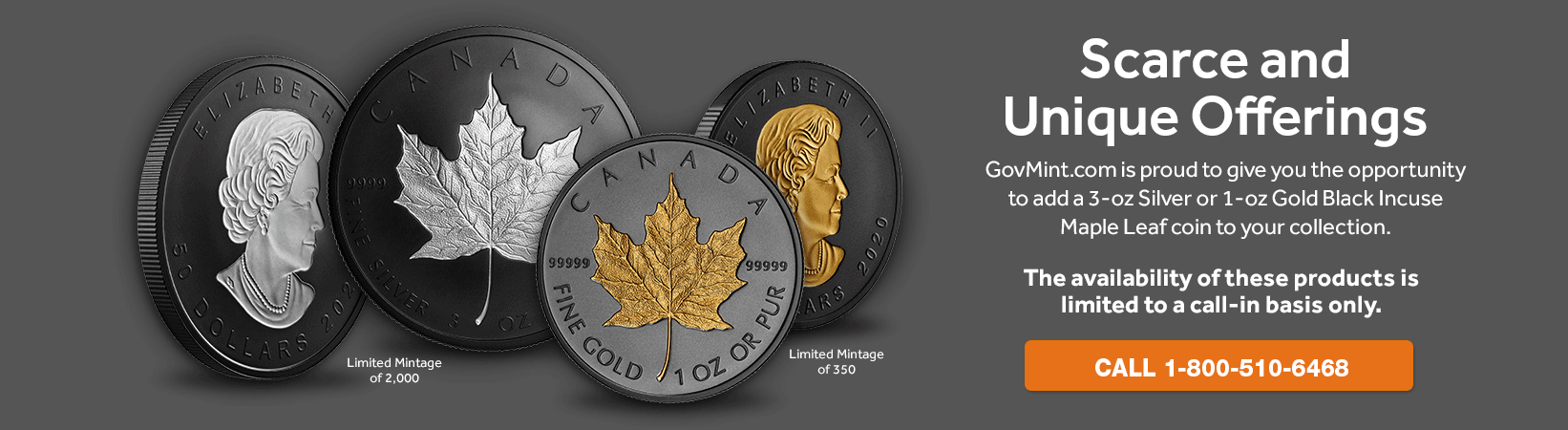 Gold one ounce and silver three ounce rhodium plated incuse maple leaf coins
