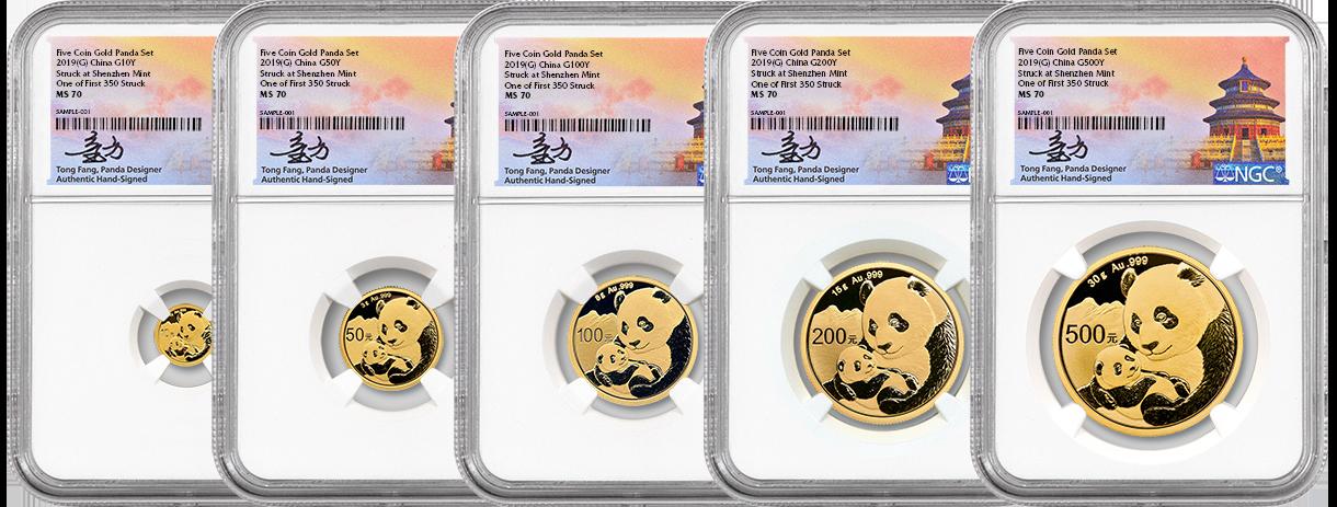 5 pice gold pandas