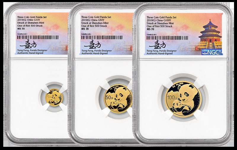 3 pice gold pandas