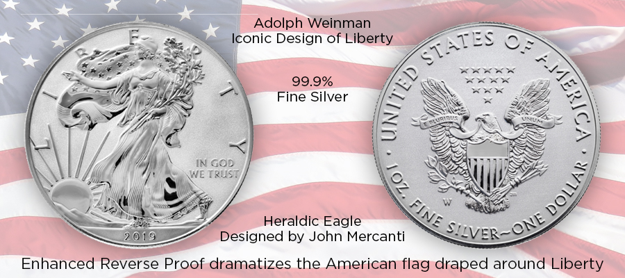 "2019-W ""Enhanced Reverse Proof"" American Silver Eagle"