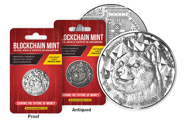 Raw Proof, Antiqued, and Brilliant Uncirculated obverse and reverse Dogecoin