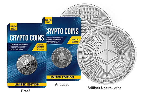 Raw Proof, Antiqued, and Brilliant Uncirculated obverse and reverse Ethereum coin