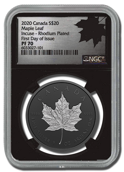 silver one ounce rhodium plated incuse maple leaf coin in NGC certified clear acrylic holder