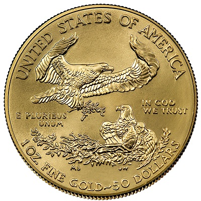 Burnished American Gold Eagle Reverse