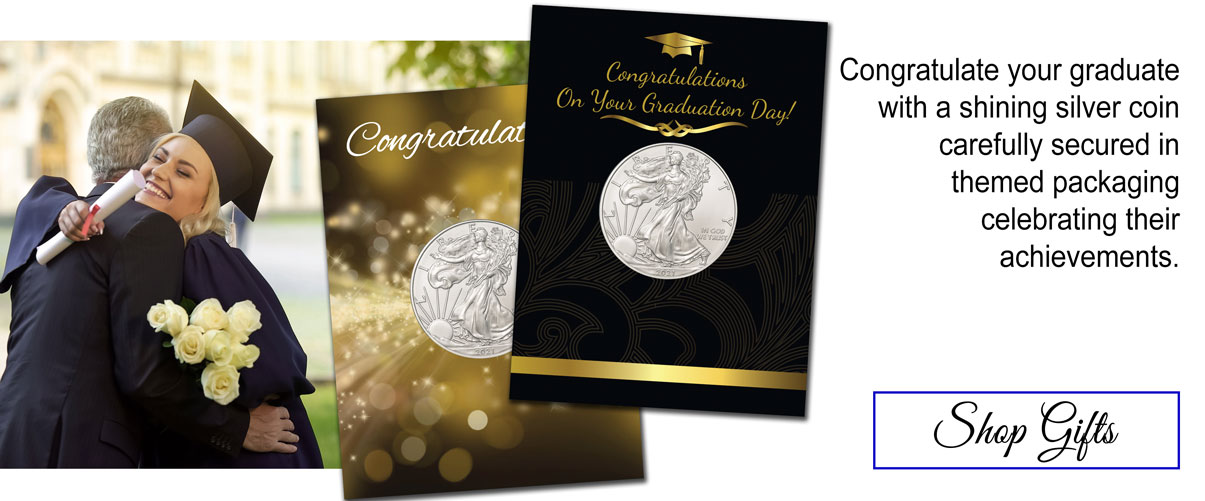 Congratulate your graduate with a shining silver coin carefully secured in themed packaging celebrating their achievements. Shop gifts.