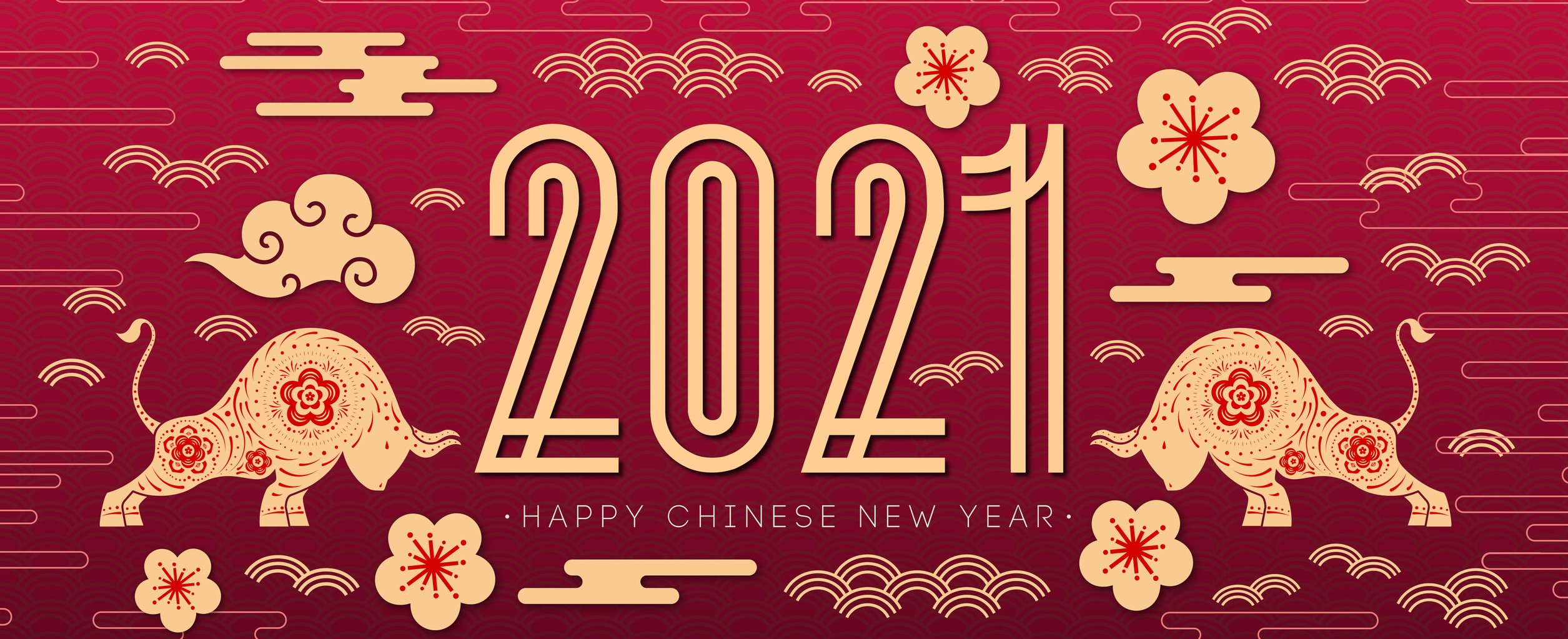 Decorative Gold and Red Bottom Banner Saying 2021 Happy Chinese New Year