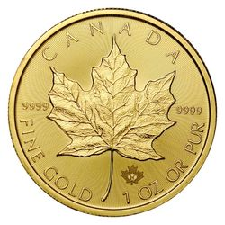 The reverse of the Canadian Gold Coin, the Gold Maple Leaf