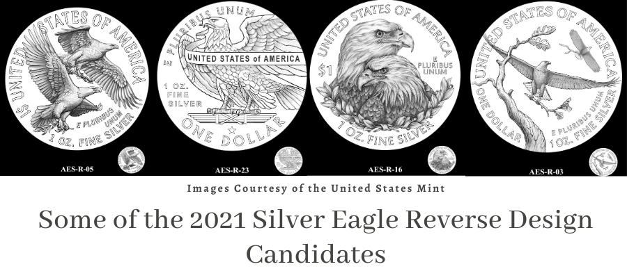 Some of the 2021 Silver Eagle Reverse Design Candidates