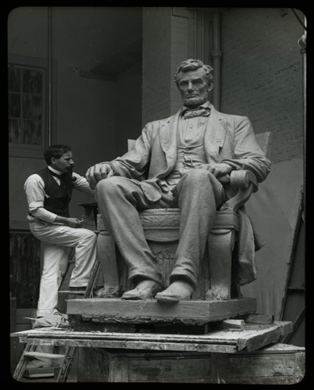 Adolph Weinman Working on Lincoln Statue